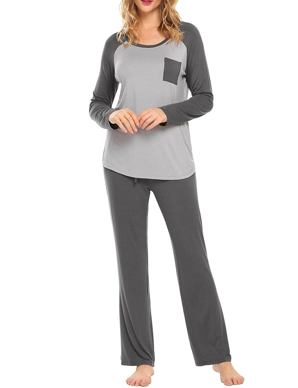 Women s Pajamas Long Raglan Sleeve PJ Set With Pants Round Neck Modal  Sleepwear S-XXL - Grey - CL187HG7Q24 93bb66c99
