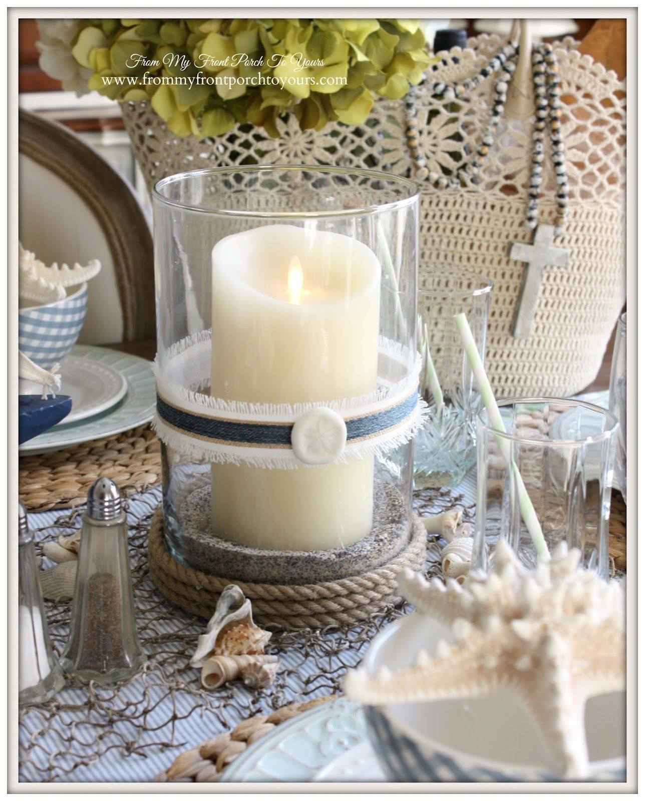 Nautical Dining Room-Balsam Hill- Candles- From My Front Porch To Yours