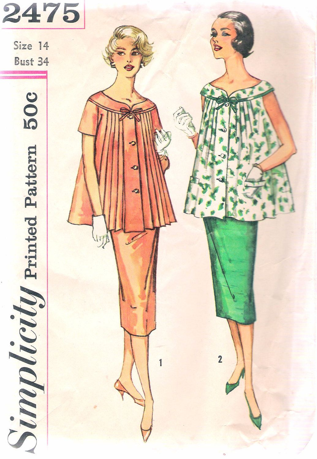 Vintage 1950s simplicity 2475 two piece maternity dress sewing vintage 1950s simplicity 2475 two piece maternity dress sewing pattern size 14 bust 34 by ombrellifo Images