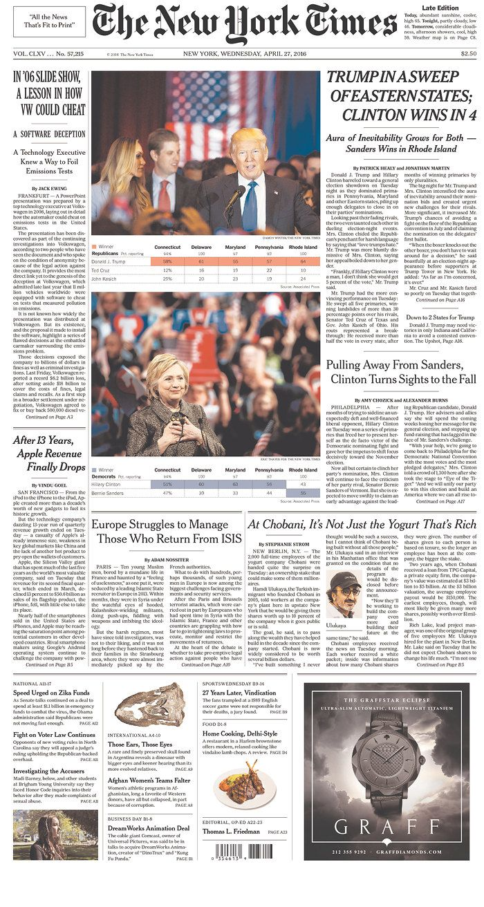 #20160427 #USA #NYC #NewYorkCity Wednesday APR 27 2016 #TheNewYorkTimes20160427 #NYT http://www.newseum.org/todaysfrontpages/?tfp_show=80&tfp_page=6&tfp_id=NY_NYT
