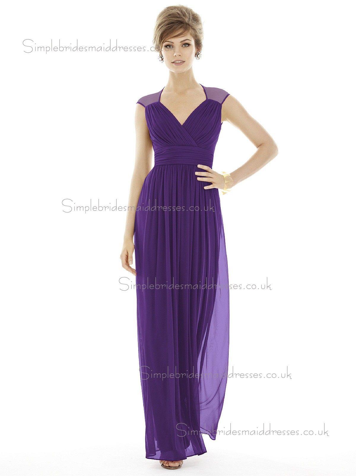 Majestic / Purple Floor-length V-neck Sleeve Column / Sheath Empire ...