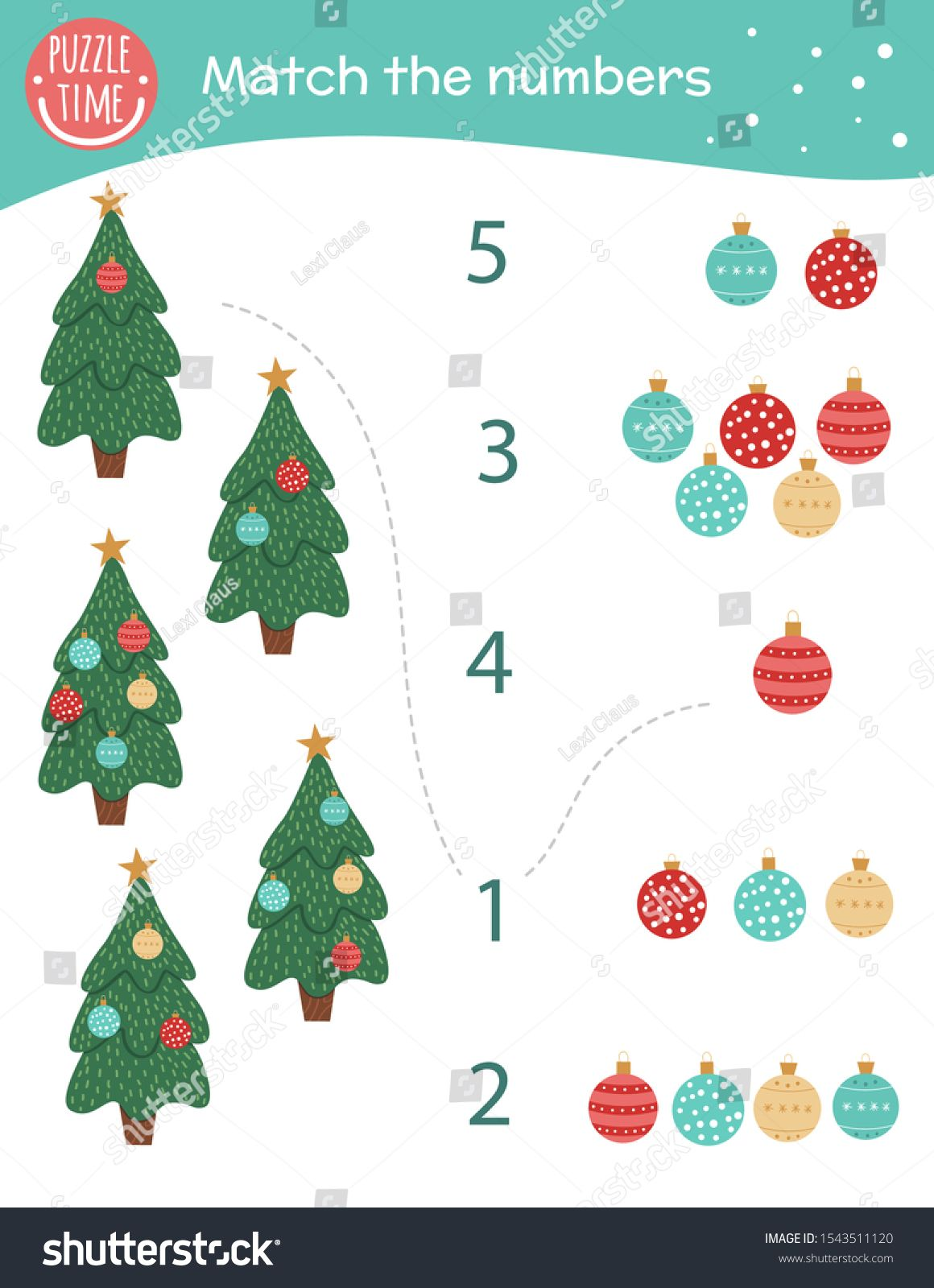 Matching Game With Christmas Trees And Balls Holiday Math