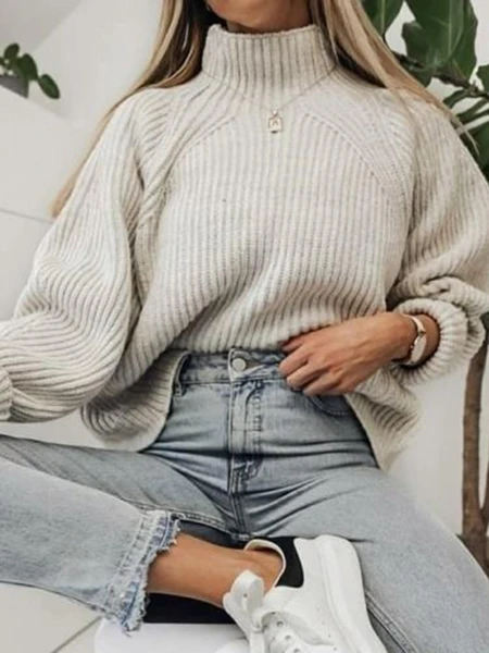 Casual High Collar Solid Color Pit Loose Knit Sweater #sweateroutfits