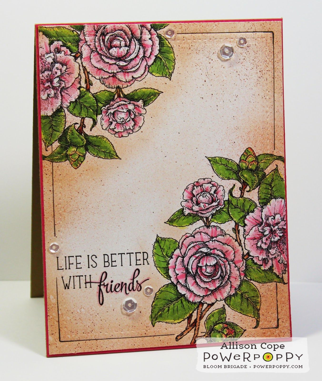 Your Memories with Ally: Winter Blitz: Camellias digital stamp by Power Poppy, card design by Allison Cope.