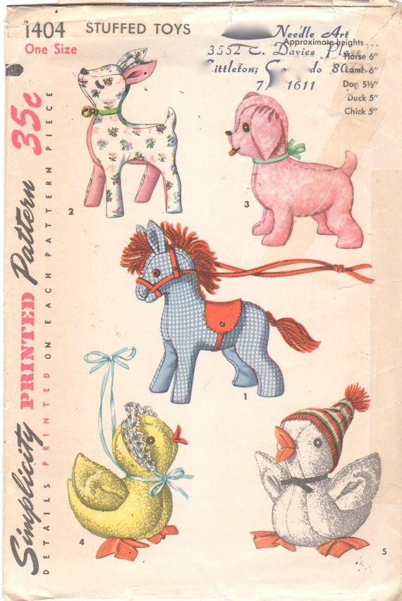 Simplicity 1404 1950s Stuffed Animal Sewing Pattern Horse Lamb Dog ...