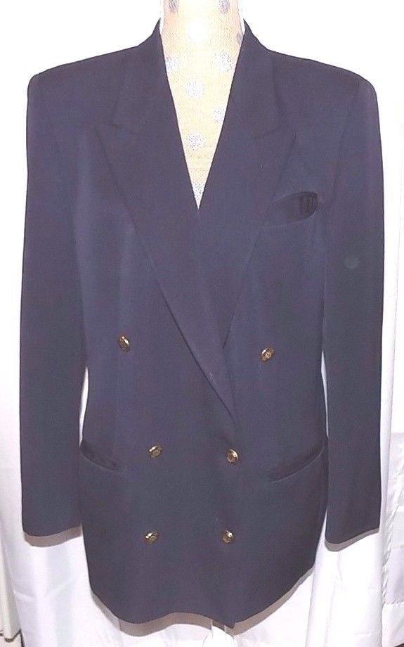Augustus Women S Suit Jacket Blazer Navy Blue Double Breasted