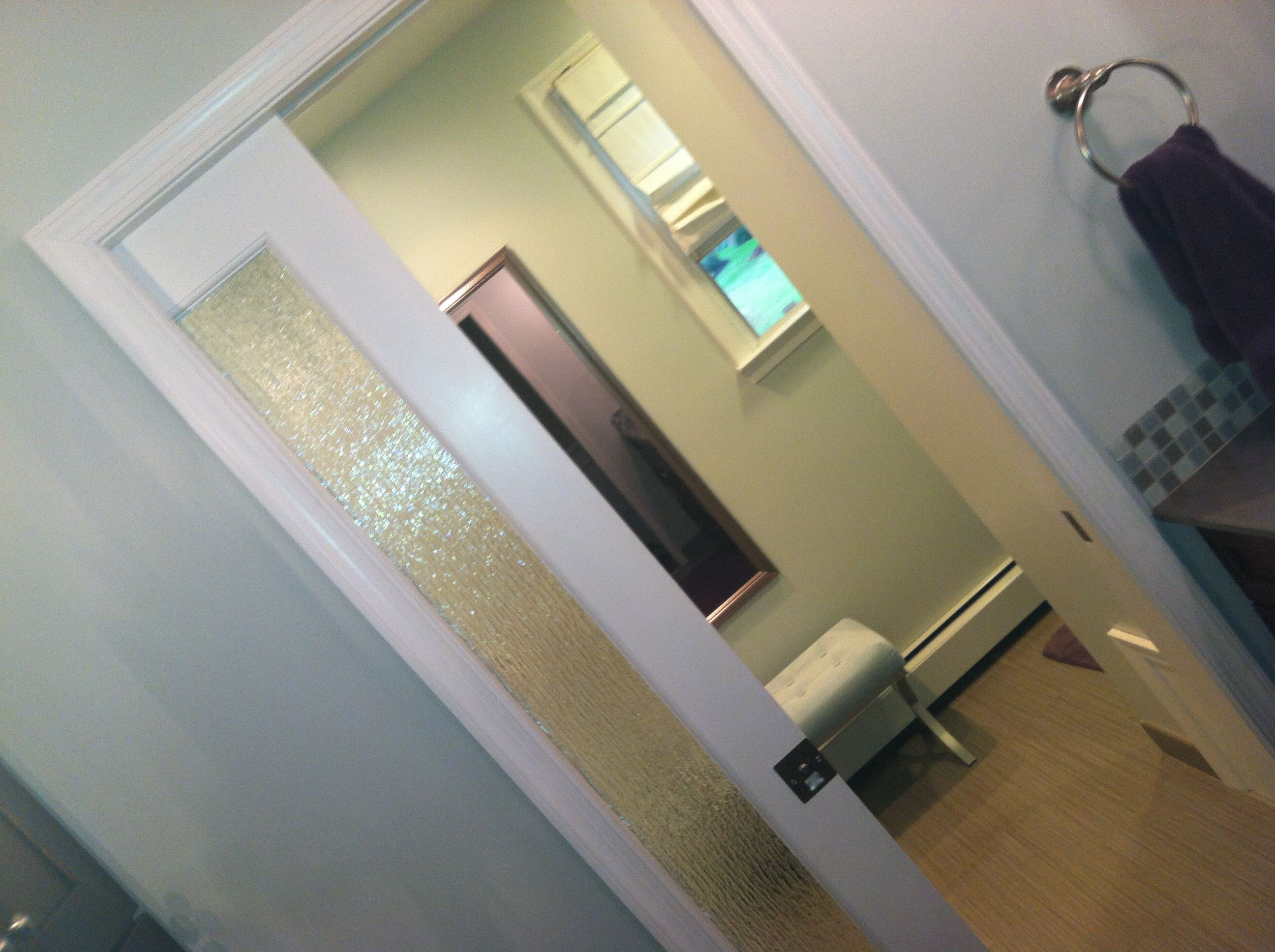 Rain Glass Privacy Pocket Door.
