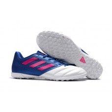 low priced e1eef 66a9b chaussure de foot vissé Adidas ACE 17.4 TF Leather pour Homme Blanche Bleu  Rose pas cher