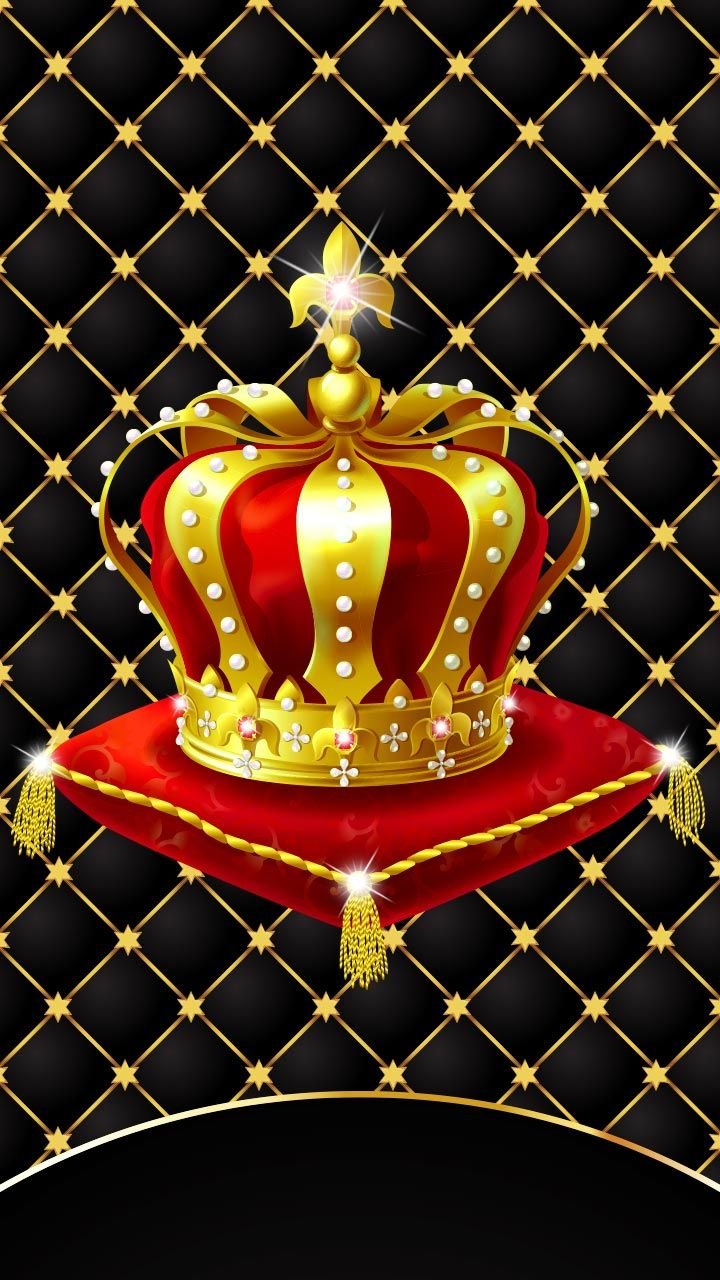 Long live the king. Gold crown with diamonds. Luxury black ...