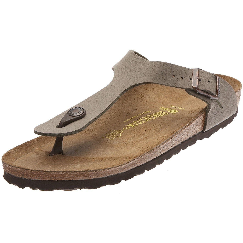 Birkenstock Gizeh Birko-Flor Women's Thong Narrow Width Sandals, Stone, 38  N EU