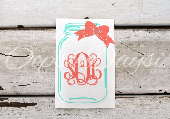 Mason jar monogram bow car decal southern preppy monogram decal sticker vinyl laptop phone custom personalized initial country girl decal