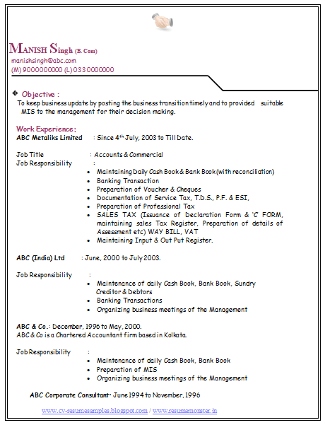 Bcom Experience Resume With Cover Letter 2 Career Pinterest