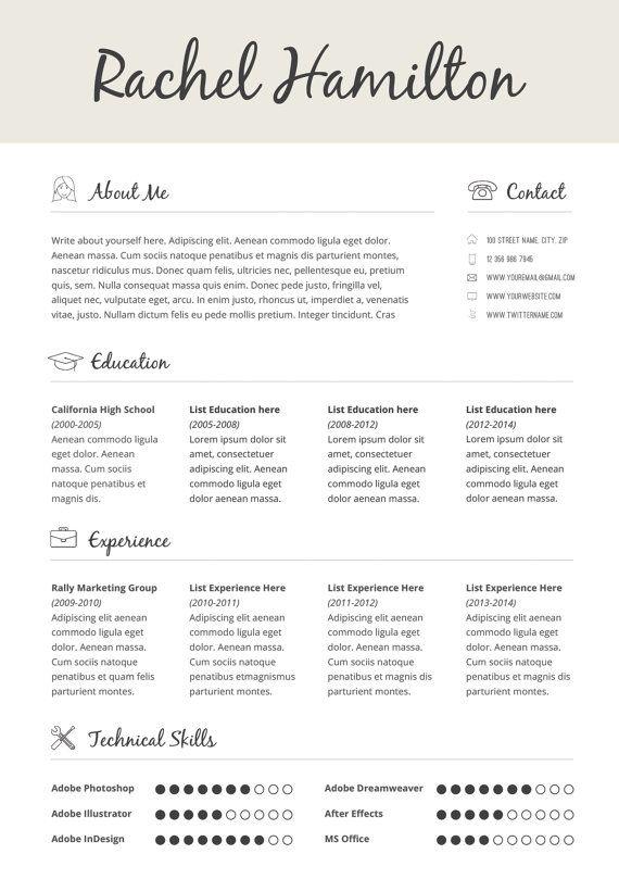 CV Design Cover Letter Printable Resume par BrandConceptCo sur - printable cover letter