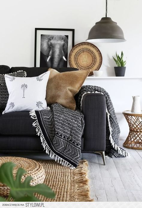 Dark Grey Couch And Bright Living Room Black And White Living