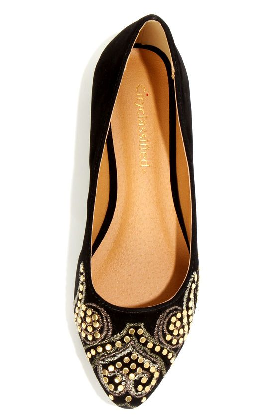 City Classified Cathy Black Embroidered and Studded Pointy Flats at LuLus.com! Super dig!