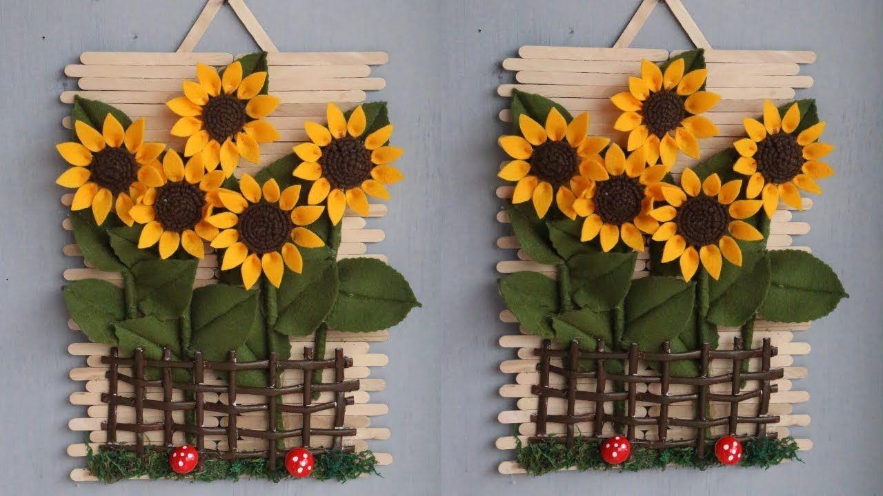 Popsicle Stick Crafts Ideas Hiasan Dinding Dari Stik Es Krim Dan Kain Lace Flowers Diy Flower Diy Crafts Craft Stick Crafts