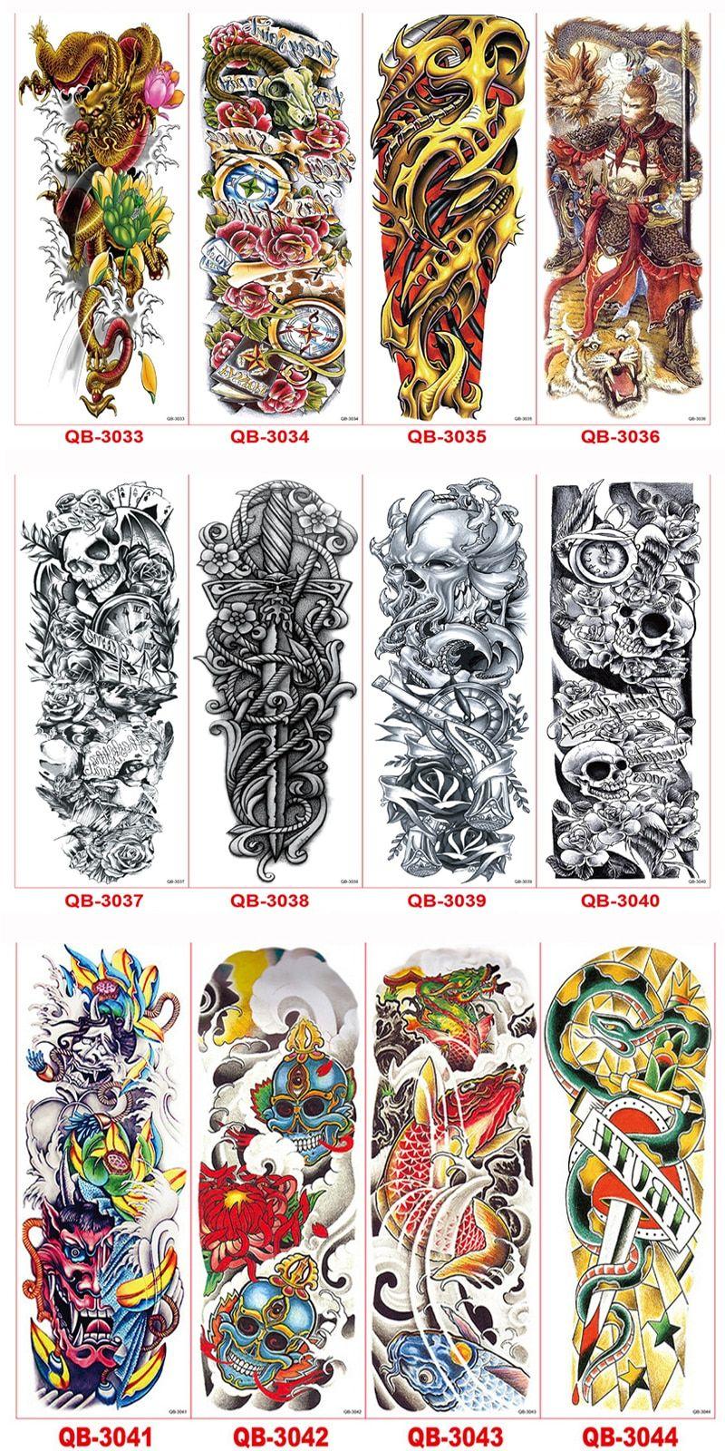 8ebfc0d46 5Pcs Waterproof Temporary Tattoos Paste Leg Full Arm Paper Fake Tattoo  Stickers For Men Women Tattoo Sleeve Body Art Tatuagem
