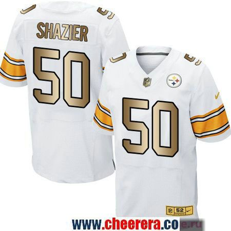 4295cc5e8 Men s Pittsburgh Steelers  50 Ryan Shazier White With Gold Stitched NFL Nike  Elite Jersey