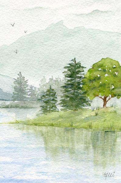 Mountain Landscape Painting Trees Lukisan Cara Menggambar