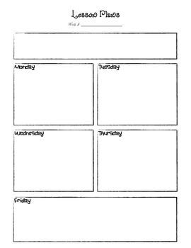 This Is A Basic Lesson Plan Template (for Preschool Or One Subject Area).
