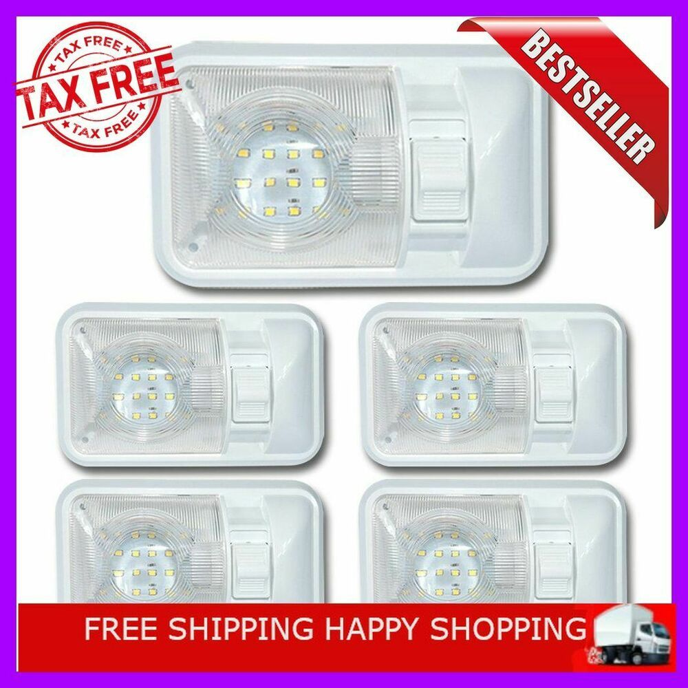 Sponsored Ebay 5 Pack 12 Volt Led Dome Light Ceiling Fixture Interior Rv Trailer Camper Marine Dome Lighting Ceiling Fixtures Ceiling Lights