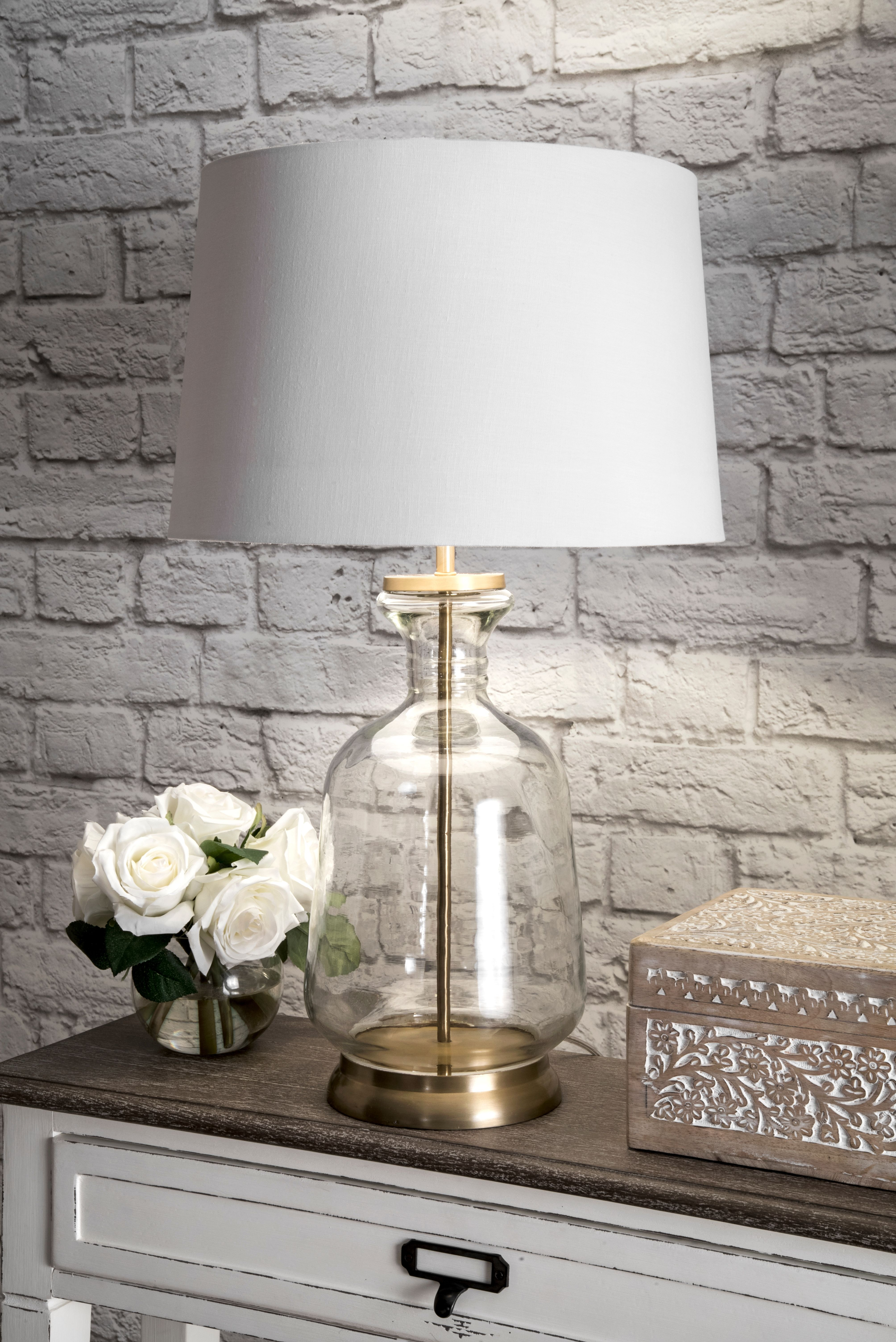 Rugs Usa Revere 24 Inch Emma Clear Glass Cotton Shade Table Lamp Lighting Clear Glass Table Lamp Gold Table Lamp Table Lamp