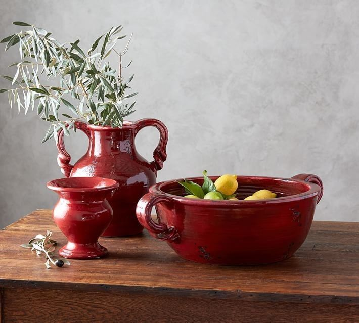Pottery Barn Hudson Red Ceramic Large Decorative Bowl RARESOLD Fascinating Pottery Barn Decorative Bowls