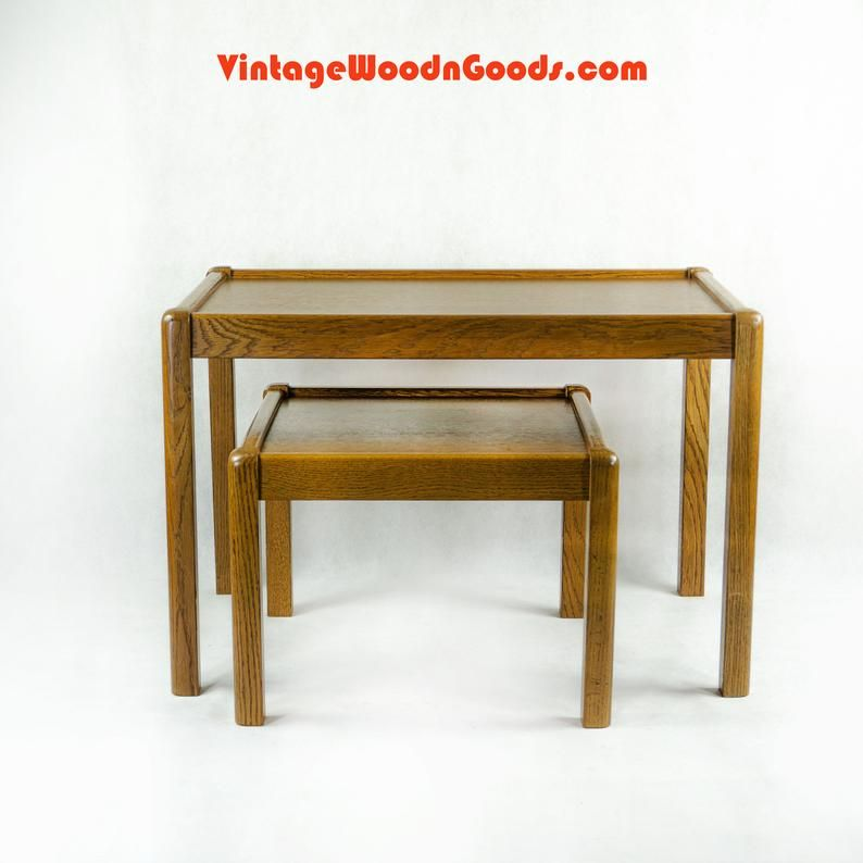 True Vintage Large 70s Oak Wood Nesting Tables Solid Wood Etsy