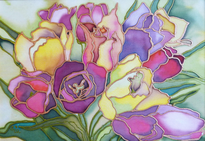 рисунок батик цветы различные