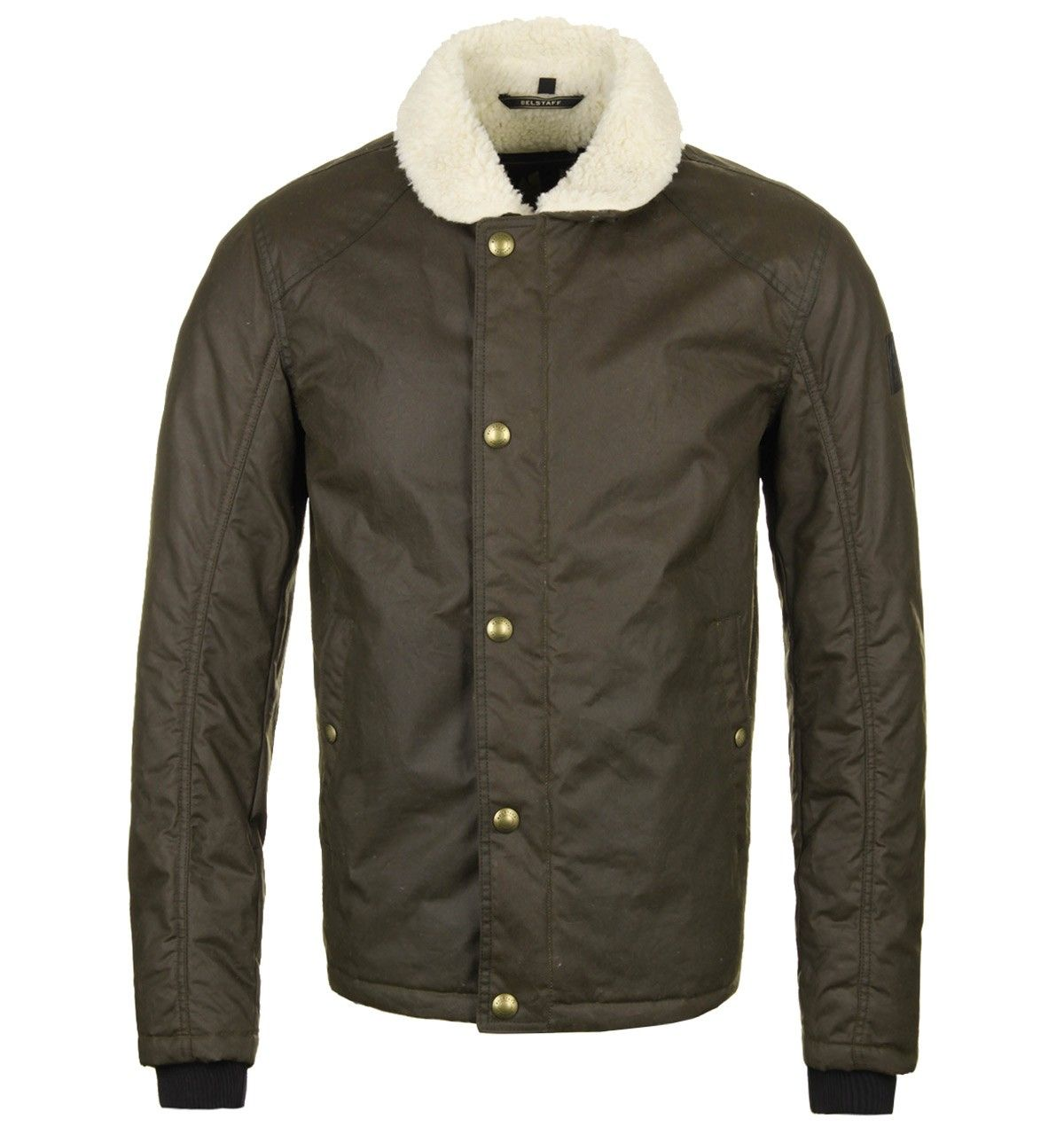 76b5cf187 Belstaff Pentenhall Faded Olive Waxed Cotton Shearling Jacket ...