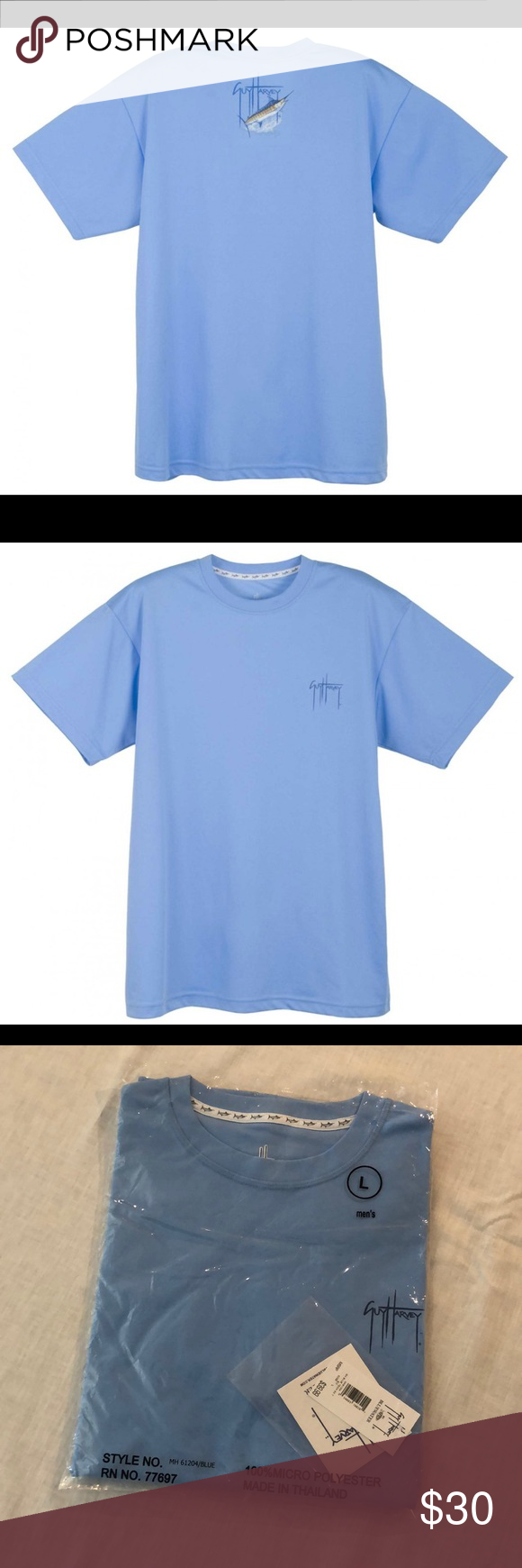 2d6116fc Guy Harvey Blue Tech Shirt GH Blue Tech Shirt. 100% Polyester. Excellent  quality. Light Blue in color. Comes from a smoke and pet FREE home.