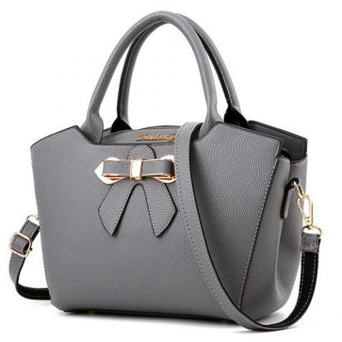 Metal Bow Textured Leather Tote Bag  4fc973d2cd