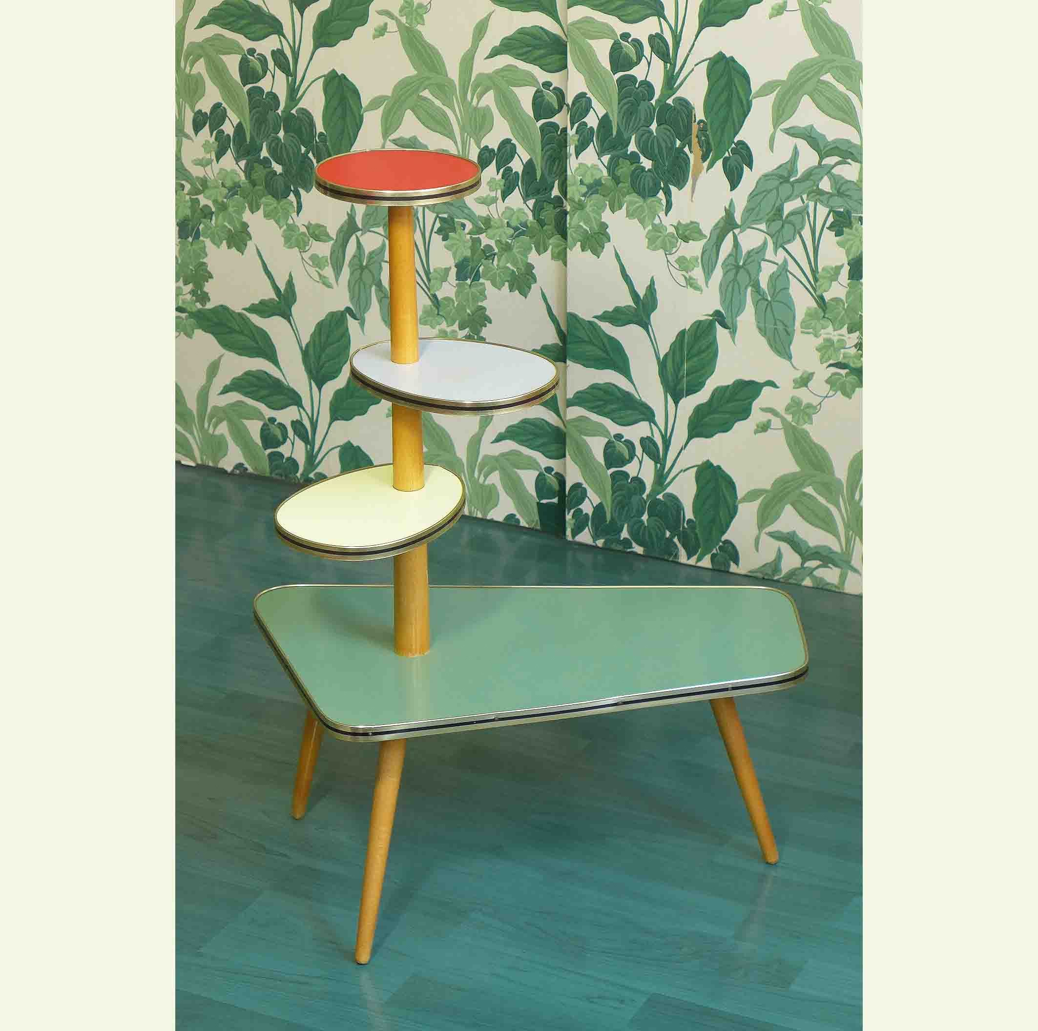 Colorful Plant Stand Side Table Coffee Table Etagere Mid