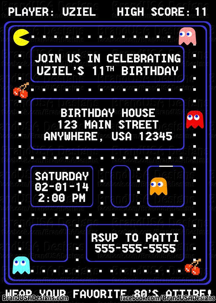 Pacman Custom Birthday Invitation  Custom birthday invitations