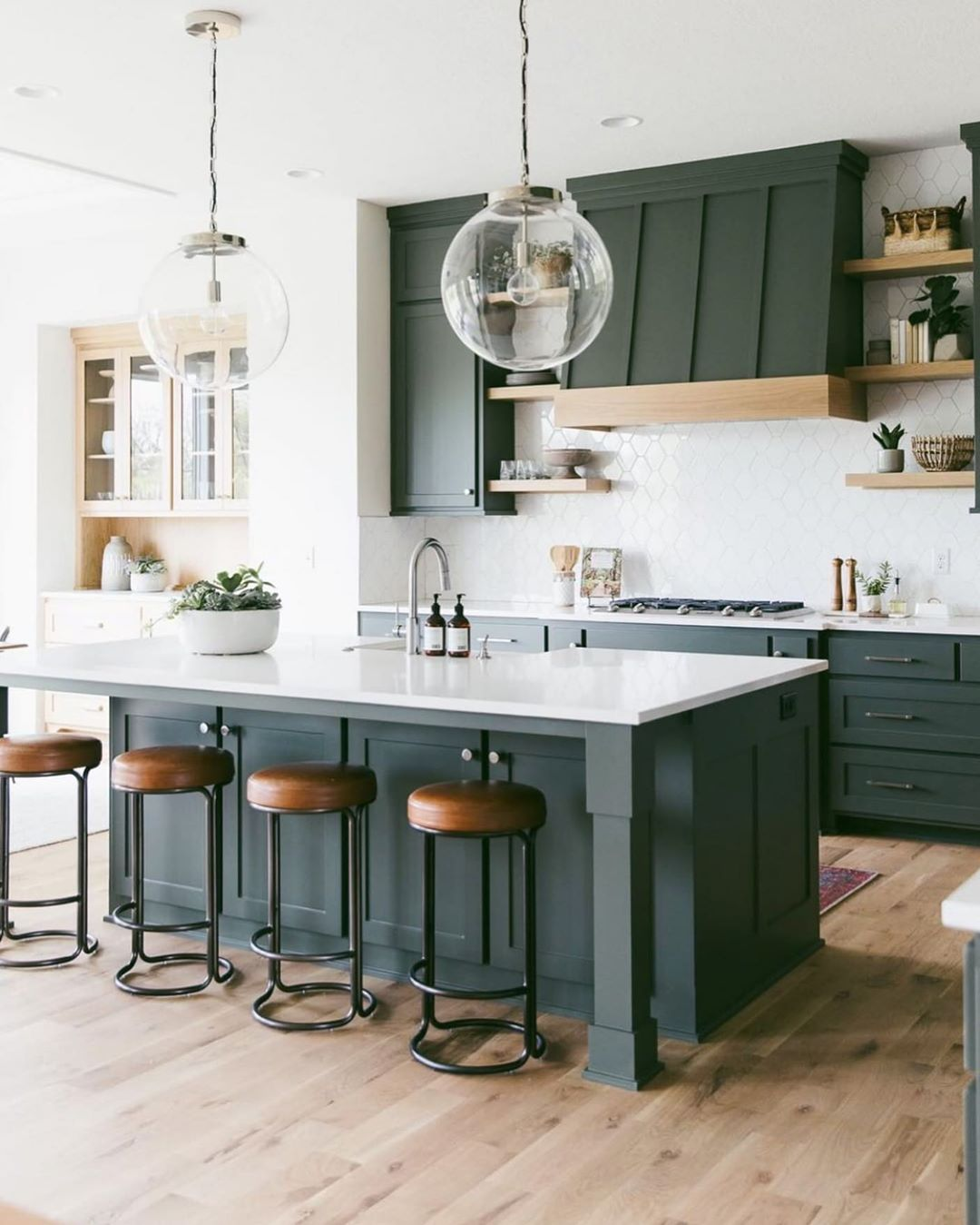 Cardinal Crest Homes On Instagram Have Always Been A Little Hesitant To Do A Green Kitchen But When Green Kitchen Island Green Kitchen Green Kitchen Cabinets