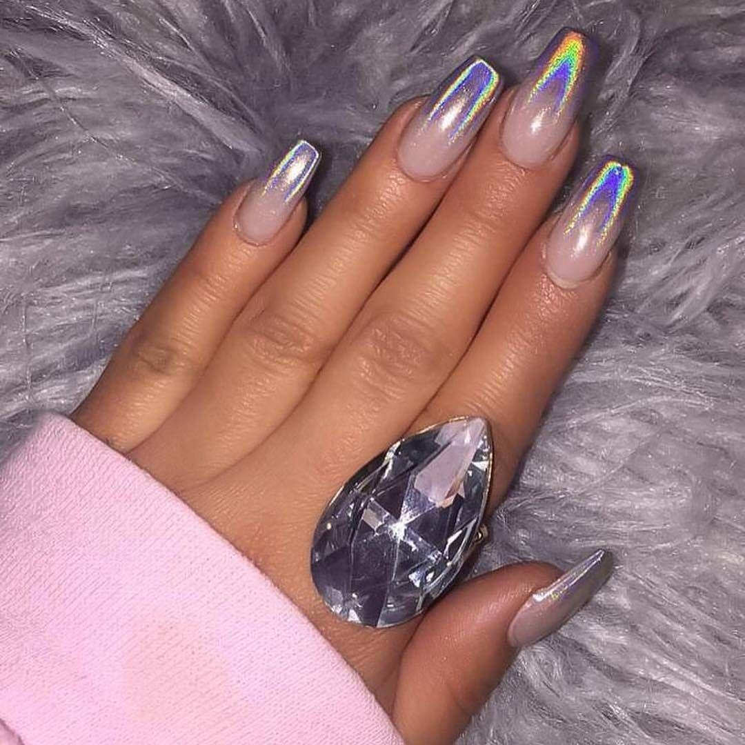 Chrome ombré with clear kinda dope nails pinterest chrome