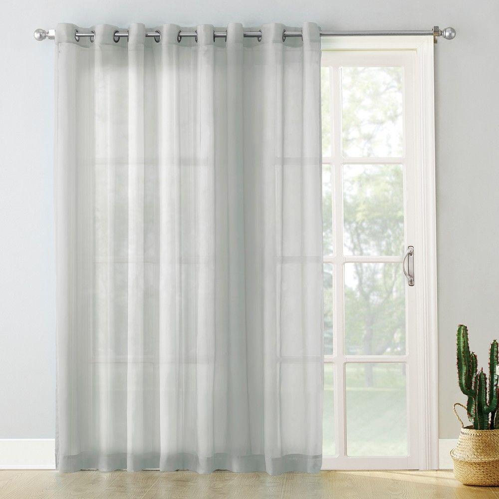 Emily Extra Wide Sheer Voile Sliding Door Patio Curtain Panel Silver 100 X84 No 918 Patio Door Curtains Sliding Patio Doors Panel Curtains