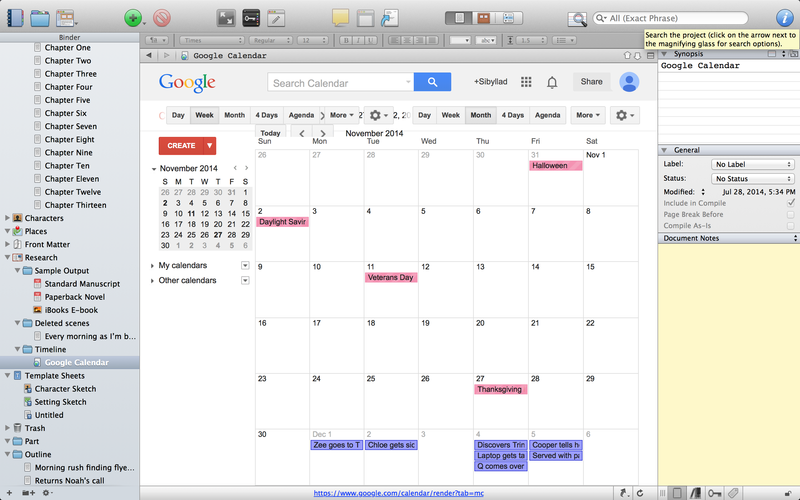 Managing Timelines On Scrivener Using Google Calendar  Google