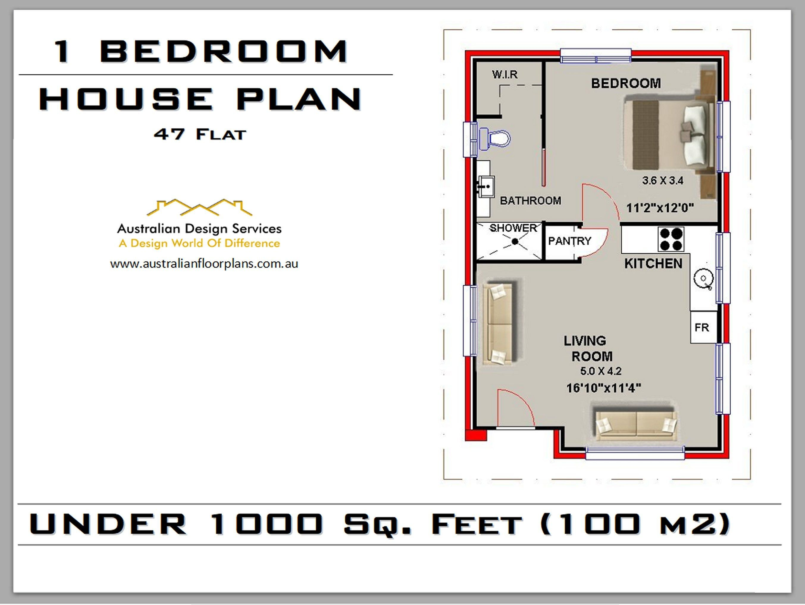 47 Flat 509 Sq Feet Or 47 35 M2 1 Bedroom House Plan 1 Etsy 1 Bedroom House Plans House Plans For Sale House Plans