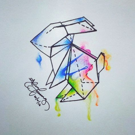 Photo of Super Origami Tattoo Geometric Watercolors Ideas