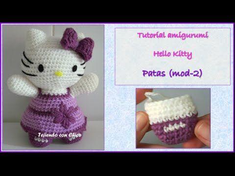 Tutorial amigurumi Hello Kitty - Patas (mod-2) - YouTube | Crochet ...