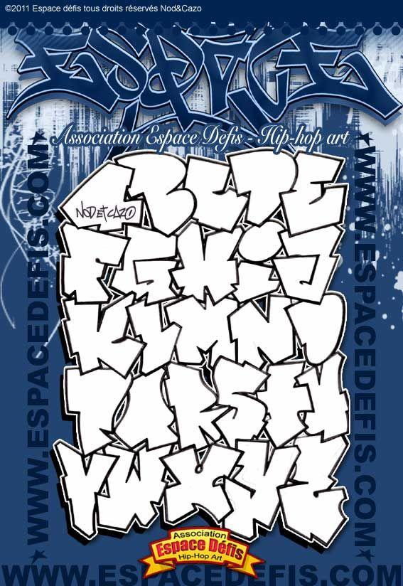 1 , Alphabet graffiti lettre bâton, simple style pour être mis en couleur ,  Vous