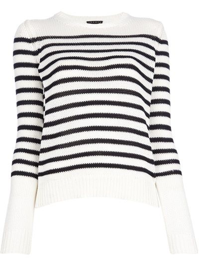 White cotton sweater with black stripes from THEORY