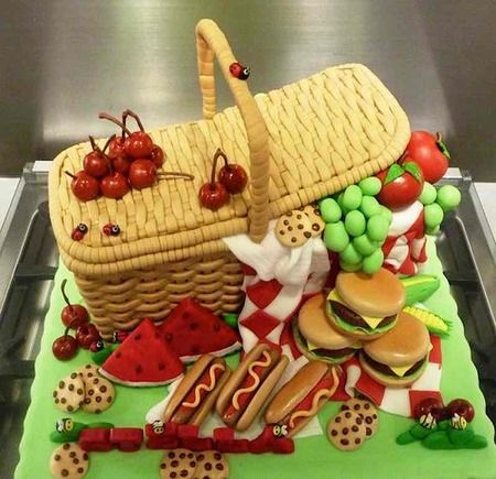 Picnic themed cake iced Pinterest Nature cake Cake and Picnics