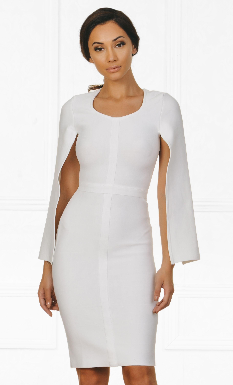 7110f34449 Indie XO Midnight Scandal White Long Slit Sleeve Scoop Neck Bandage Bodycon  Cape Midi Dress