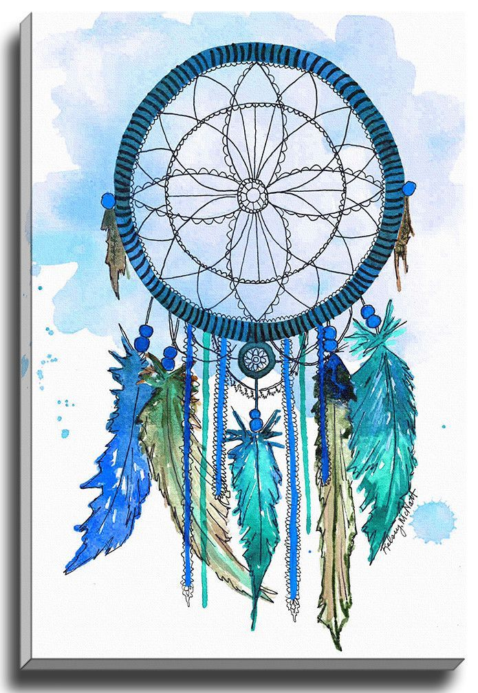 Bashian Home Teal Blue Dream Catcher By Kelsey Mcnatt Painting Print On Gallery Wrapped Canvas Dream Catcher Painting Feather Wall Art Dream Catcher Drawing