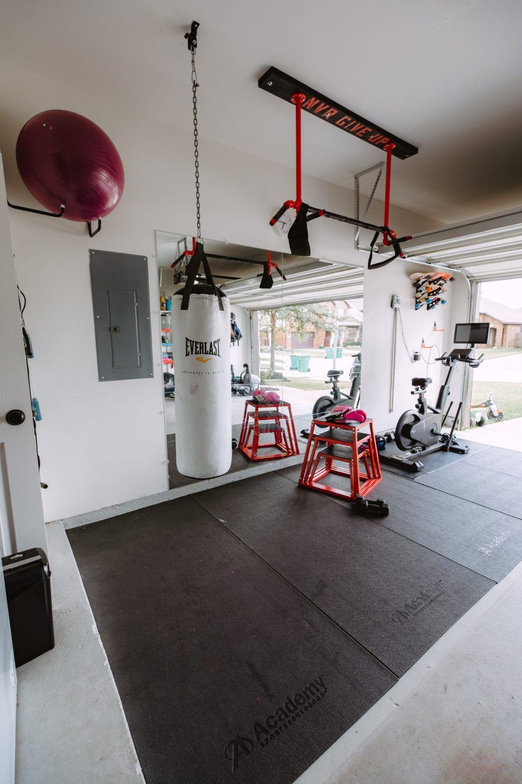 Half Garage Gym On A Budget Home Gym Flooring Gym Room At Home Home Gym Decor