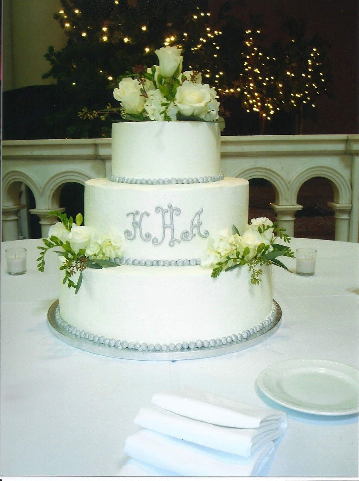 3 tier white initial wedding cake with grey trim | Small wedding ...