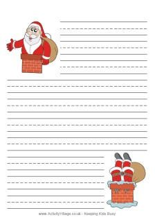 Santa And The Chimney Writing Paper Free Christmas