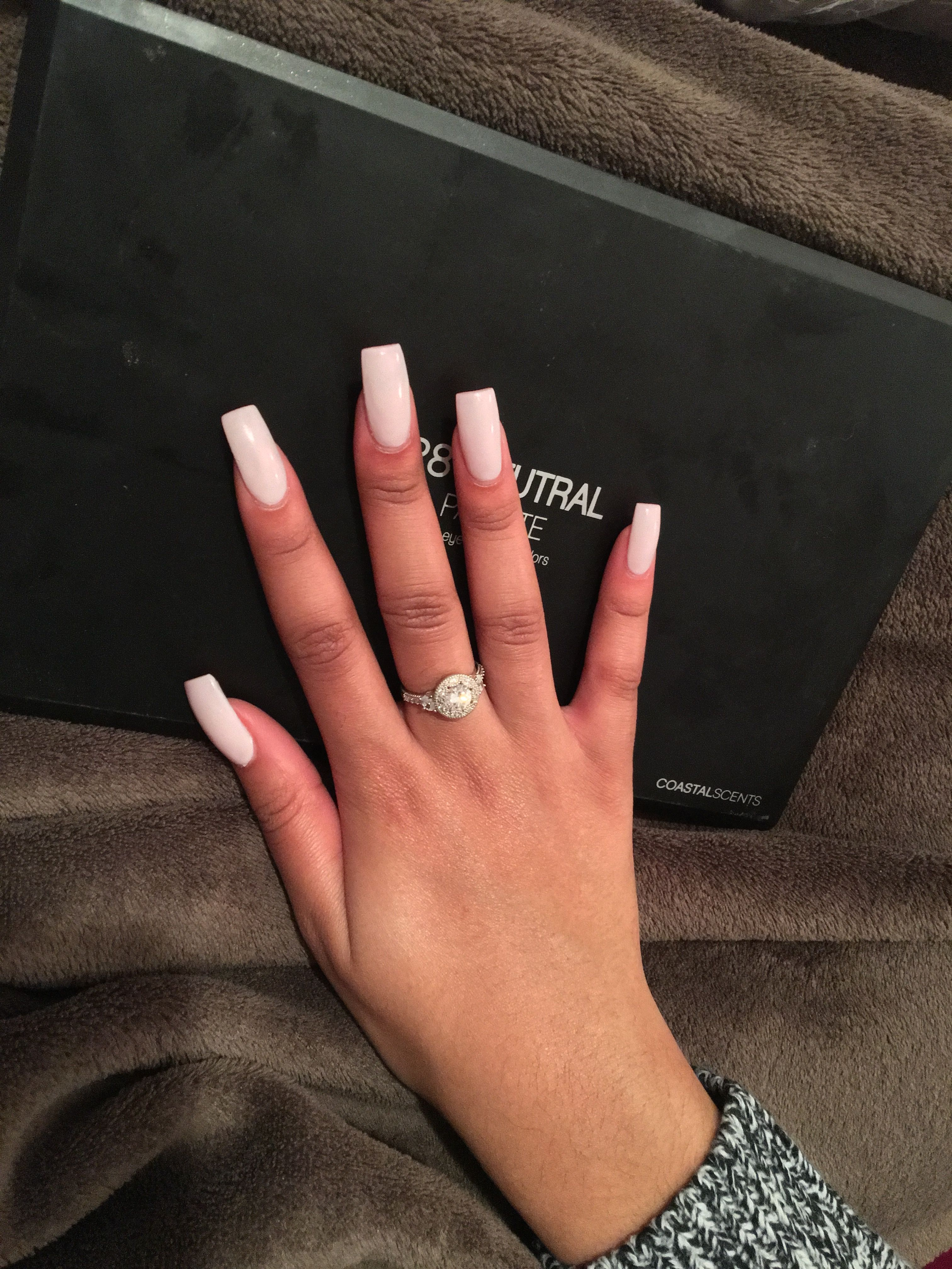 baby pink square nails in 2020